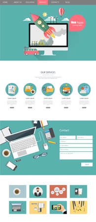 vector web design elements: Modern One Page Website Template Design Vector Flat