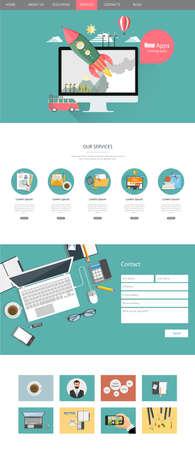 Modern One Page Website Template Design Vector Flat