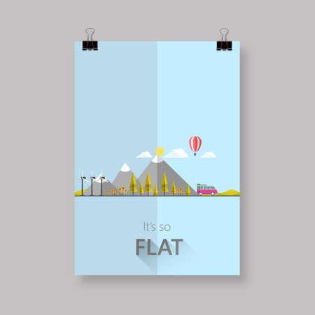 Eco flyer or cover design with Flat landscape illustration. Illustration