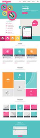 One Page Business website design template. Vector Design. Ilustração