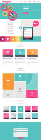 web graphics: One Page Business website design template. Vector Design. Illustration