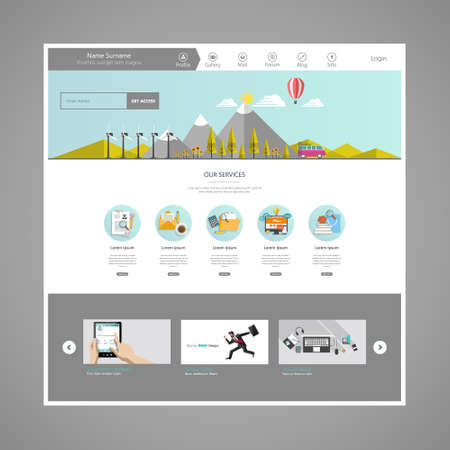 ECO: Modern Eco website template with eco flat landscape illustration