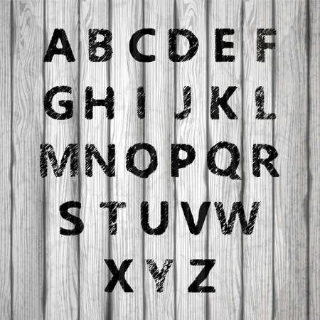 Grunge full alphabet on old wooden board. Vector