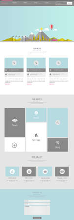 web: Flat One page website design template. Vector Design