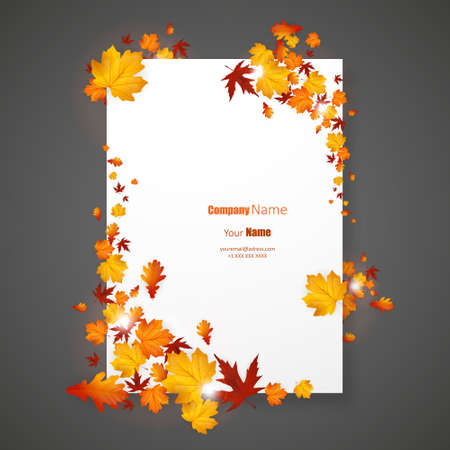 White blank on background with autumn maple leaves. Vector