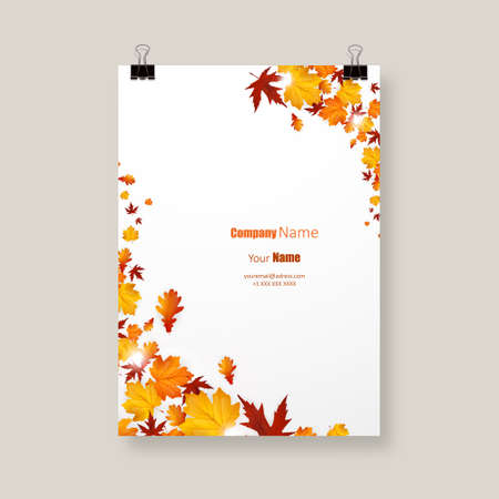 autumn leaves background: White blank on background with autumn maple leaves. Vector