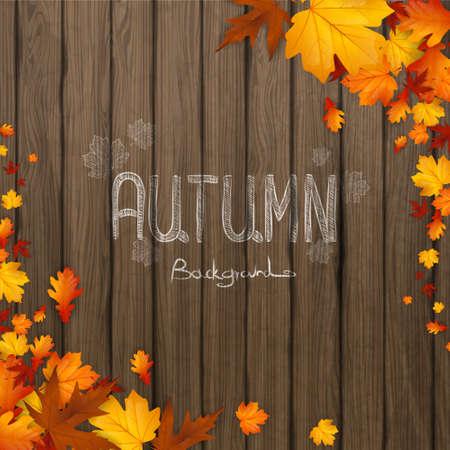 feuille arbre: Fond naturel avec des feuilles d'automne et planche de bois. Vector illustration. Illustration