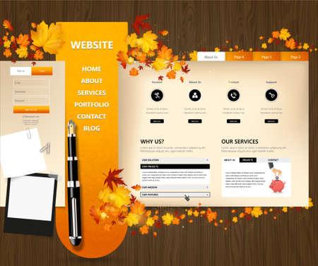 website template: Creative Autumn theme website template design vector Illustration