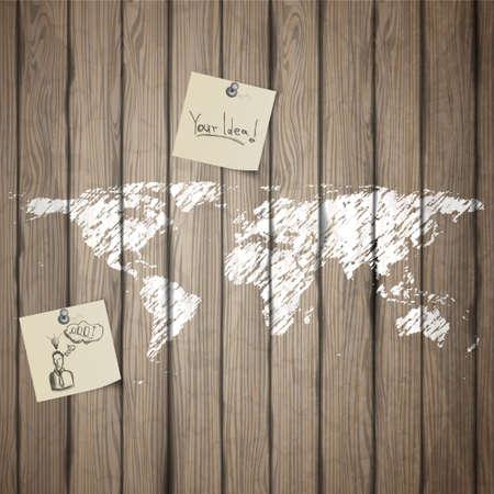 mundo manos: Mapa de la tierra pintada en tablero de madera vieja con el papel de nota. Vector realista