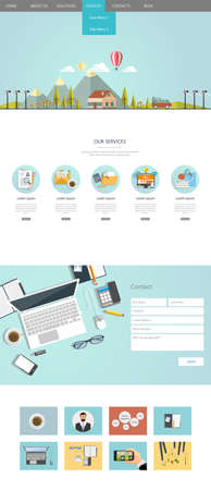 color pages: One page website design Eco flat, huge collection of website elements.