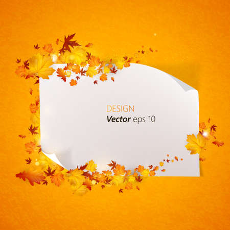 rusty background: White paper blank on background with autumn maple leaves. Vector