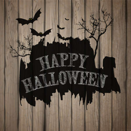 Happy Halloween painted on wooden board, realistic vector illustration. Illustration