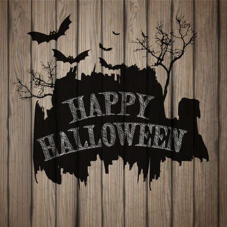 halloween: Happy Halloween painted on wooden board, realistic vector illustration. Illustration