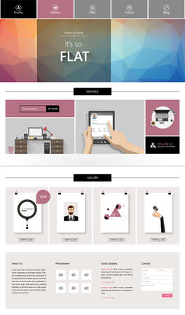 web elements: One Page Business website design template. Vector Design. Illustration