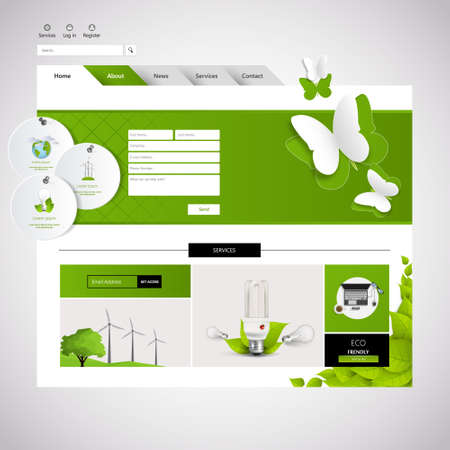 wordpress: Minimalistic Eco Green Website Design, Vector Eps 10 Illustration