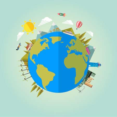 nature vector: Earth globe, eco background. Vector illustration flat