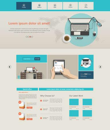 portfolio template: Flat Website Template. Vector illustration.