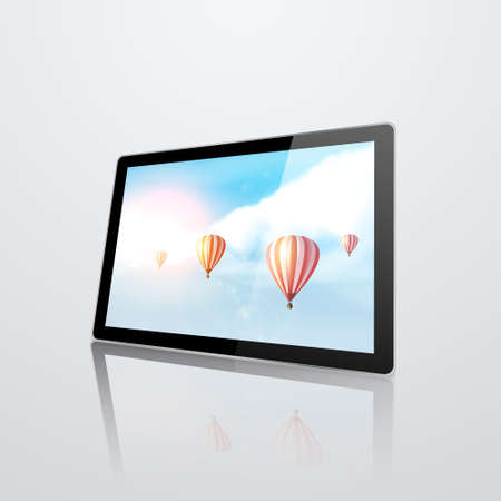 modern palmtop: Realistic tablet pc computer on white background. Vector eps10 illustration
