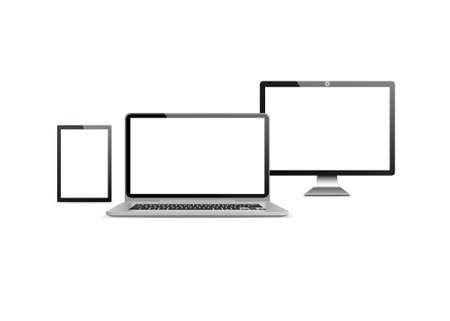 illustrati: Set realistic Monitors phone and laptop tablet vector illustrati