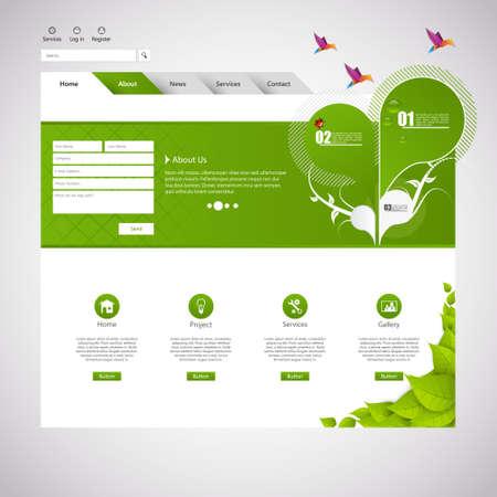 Minimalistic Eco Green Website Design, Vector Eps 10 Illustration