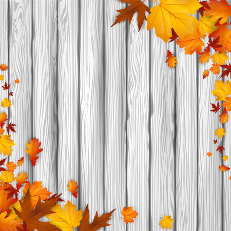Natural background with autumn leaves and wooden board. Vector illustration.