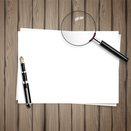 pen and paper: Vector background on wood table white paper, with pen and magnifying glass. Illustration
