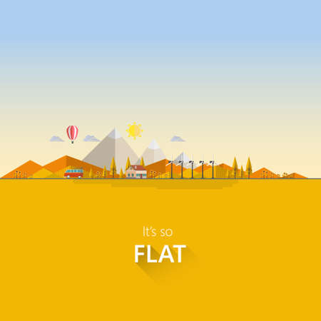 autumn sky: Flat illustration of landscape ecology, in autumn.