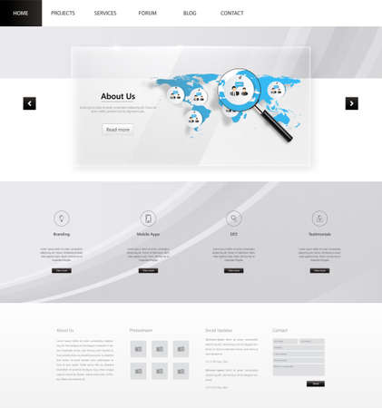magnyfying glass: Modern Clean Business Website Template Design, Editable Vector Illustration.