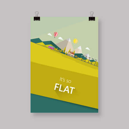 solarpower: Eco flyer or cover design with Flat landscape illustration. Illustration