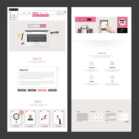 page views: One Page Business website design template. Vector Design. Illustration
