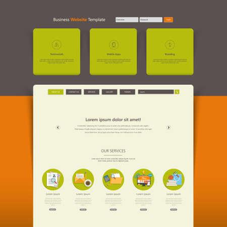 web design elements: Website Template Design Colorful Flat Illustration
