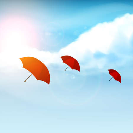 Red Umbrella with Blue Sky, Vector illustration Realistic