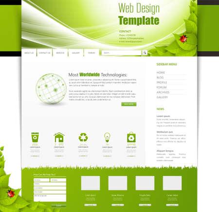 Eco Business One página de la plantilla de diseño web. Diseño vectorial. Foto de archivo - 48269776