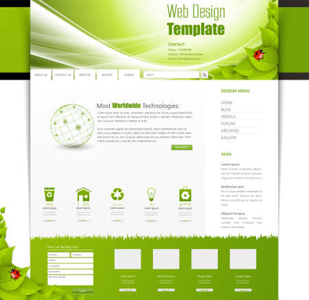 web page elements: Eco Business One page website design template. Vector Design. Illustration