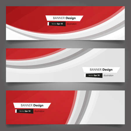 Vector set of abstract wavy red banners