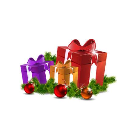 fir tree balls: Christmas gifts vector image