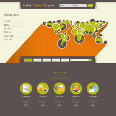web site: Website Template Design Colorful Flat Illustration
