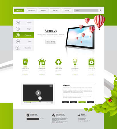 green butterfly: Eco Business website design template. Vector Design.