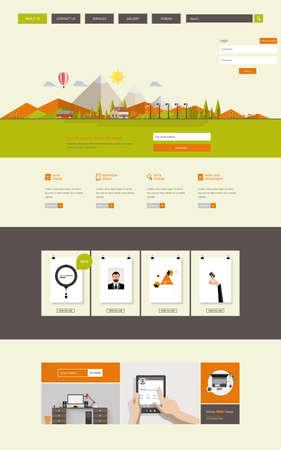 submenu: Website Template Design Colorful Flat Illustration