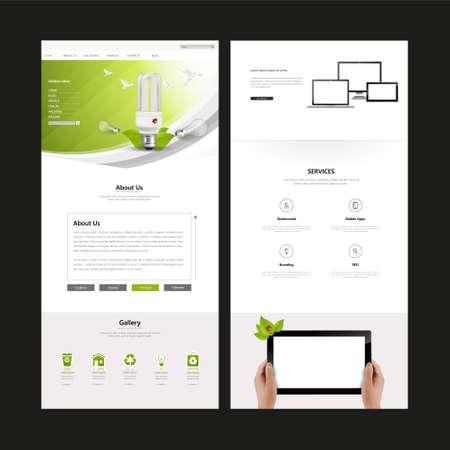 wordpress: Eco Business One page website design template. Vector Design. Illustration