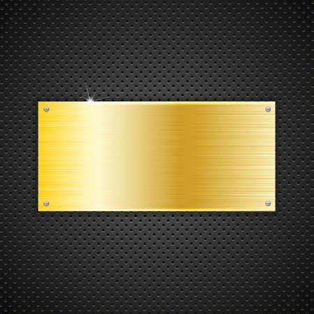 speaker grille pattern: Golden plate texture with screws, vector illustration