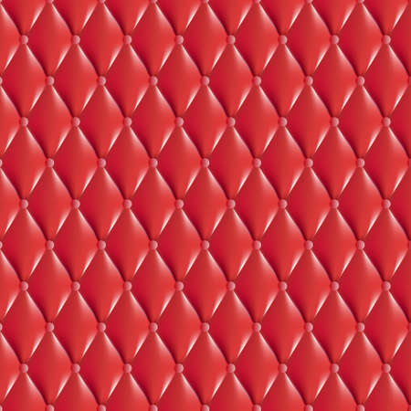 cushioning: Vector Texture, red antique leather with rhombus style. Classic white retro of wall, door, or sofa studio interior