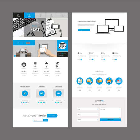 One Page Business website design template. Vector Design. Illustration