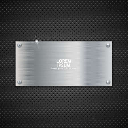 metal frame: Metal plate texture with screws, vector illustration