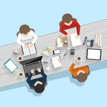 비즈니스 회의 및 브레인 스토밍. 플랫 디자인.