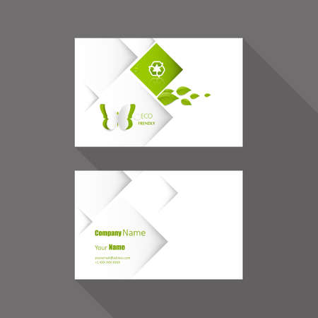 green butterfly: Eco Business card vector background