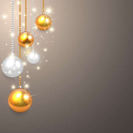 glitter ball: Golden, silver realistic vector Christmas balls set.