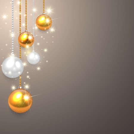 pelota: realista, vector de plata bolas de oro de la Navidad fijados. Vectores