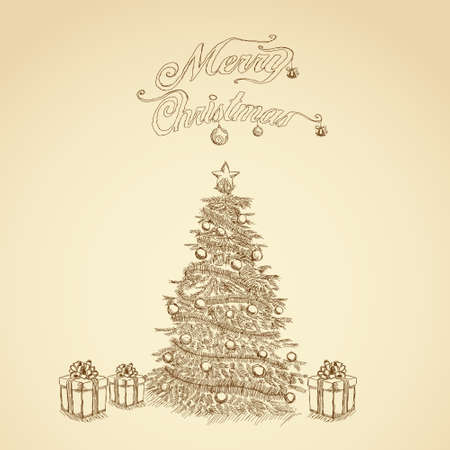 pen on paper: Christmas sketch retro background, vector