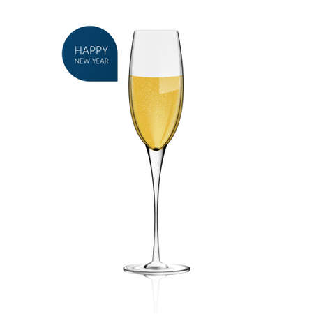 puree: Realistic Vector Champagne glass for white background. Happy New Year!
